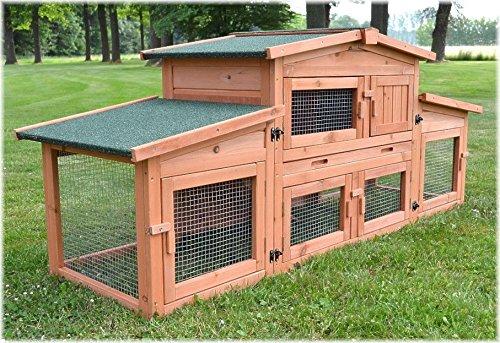 Zooprimus Kaninchenstall 47 Hasenkäfig - KÖNIGSSTALL - Stall für Außenbereich (für Kleintiere: Hasen, Kaninchen, Meerschweinchen usw.)