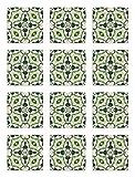 Panorama Azulejos Adhesivos Cocina Baño Pack de 48 Baldosas de 15x15 cm Baldosín Oriental Caleidoscopio Verde - Vinilos Cocina Azulejos - Revestimiento de Paredes - Cenefas Azulejos Adhesivas