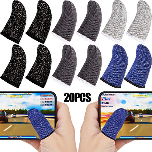Spielen Fingerhülse Touchscreen Fingerhülse Anti-Schweiß Atmungsaktive Touchscreen Finger Sleeve für Handy Spiele (Schwarz Weiß Grau Blau, 20 Stück)