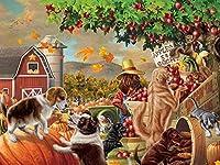 DMFNGJSD 数字油絵 フレーム付き 、数字キット塗り絵 手塗り DIY絵-リンゴの木の下-デジタル油絵 40x50 cm