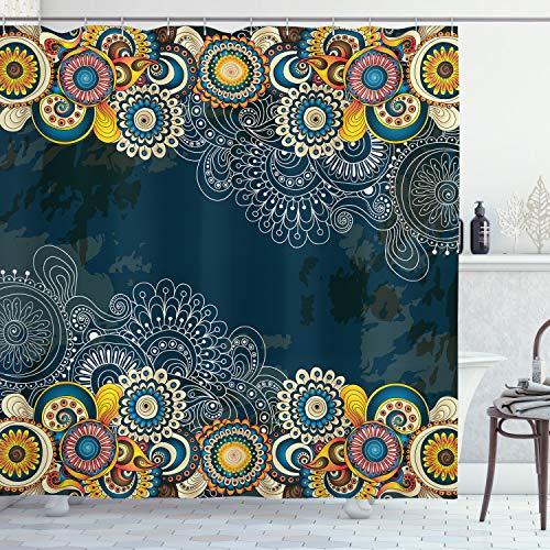 ABAKUHAUS Psychedelisch Duschvorhang, Mandala Paisley, Seife Bakterie Schimmel & Wasser Resistent inkl. 12 Haken & Farbfest, 175 x 220 cm, Blau Gelb