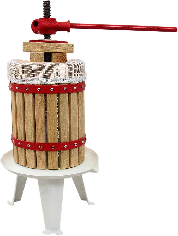 KUKOO - 18L Prensa de Frutas de Madera de Roble y Acero Prensa de Husillo Manual para Zumo Vino Sidra