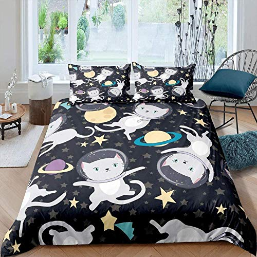 HKDGHTHJ 3D bedding is super soft and comfortable animal cat astronaut outer space 135x200 CM Printing Bedding Set Duvet Cover/Comforter Cover Bed Sheet Pillowcases Bed Linens Home Textile