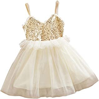 Mealeaf Baby Boys and Girls Clothes with Kids Girls Princess Sequins Toddler Tulle Lace Tutu Slip Dress (3-4 Years Old, Beige)