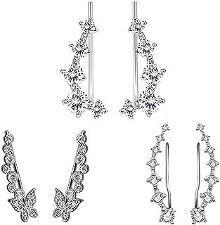 TOPBRIGHT 3 Pairs Set Cubic Zirconia Ear Crawler Earrings for Women Girls Hypoallergenic Stud Earrings Cuff Earring