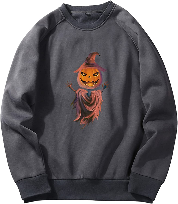 Men's Fleece Crewneck Sweatshirt, Cute Funny Graphic Halloween Pullover Shirts