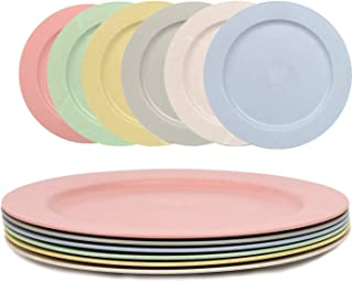 Shopwithgreen 6 pc 10 Inch Dinner Plates - Lightweight Unbreakable Wheat Straw Plates - Dishwasher and Microwave Safe