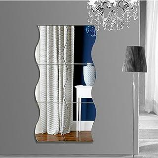 6pcs Miroir De Mur Carree Autocollant Motif De Vagues Du0027Argent Murales De  Style Chambre