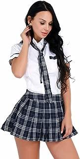 Women School Uniform Cosplay Set Short Sleeve Shirt with Plaid Skirt Costume