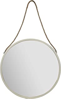 """Everly Hart Collection 30"""" Round Metal Wall Rustic Hanging Rope Mirrors, White"""