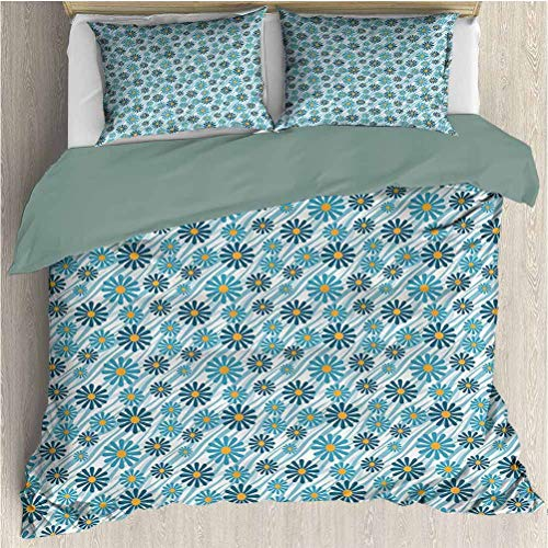 Animal Print Collection Bed Sheets Set Full, Quilt 3 Piece Bedding Set Daisy Flowers Blooms On Geometric Curvy Tilted Stripes Artful Design Illustration Warm Bedding Blue Yellow