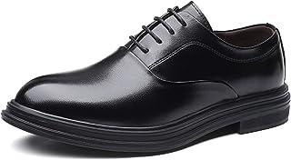 CAIFENG Oxfords Vestido Derby Zapatos para Hombres Llano 3-Ojo Lace Up Up Stitching Block Tacón de Cuero sintético Suela S...