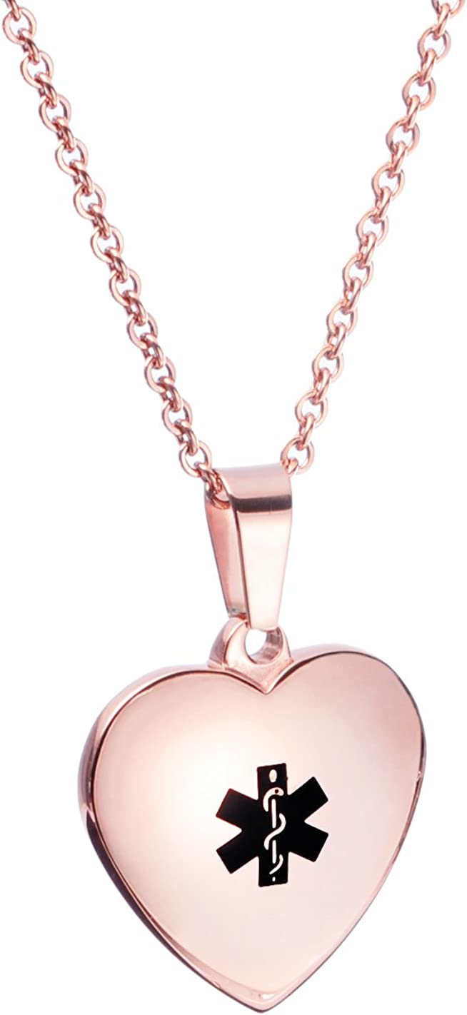LinnaLove Free Engraving Heart Charm Alert Cheap mail order specialty store Medical ID Necklaces Recommendation