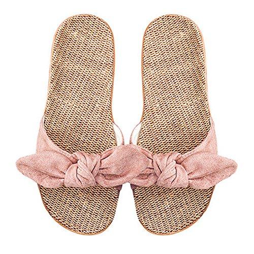 [アンノウン] 夏用 室内 室外 おしゃれ 女子用スリッパ かわいい 蝶結び 編み物 麻 通気性 レディース ビーチ 水泳 サンダル (22.5-23cm, Pink)