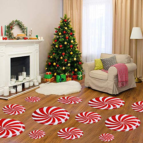 12Pcs Christmas Peppermint Candy Sticks Peppermint Floor Window Decals Stickers for Xmas Self-Adhesive Wall Candyland Party Decoration Stickers for Candyland Party Theme (with Plastic Scraper)