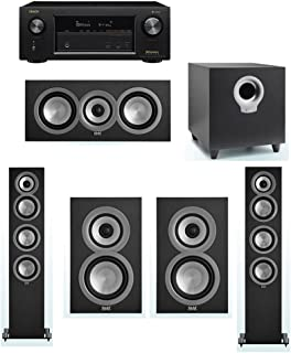 ELAC Uni-Fi 5.1 System with 2 ELAC UF5 Floorstanding Speakers, 1 ELAC UC5 Center Speaker, 2 ELAC UB5 Speaker, 1 ELAC Debut S10 Powered Subwoofer, 1 Denon AVR-X2400H A/V Receiver