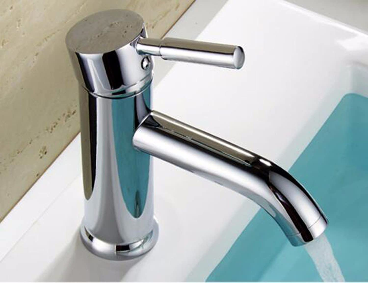 LHbox Basin Mixer Tap All-round copper faucet, bench top table art vanity area with sink bathroom cabinet faucet, high and low single hole single handle cold water faucet