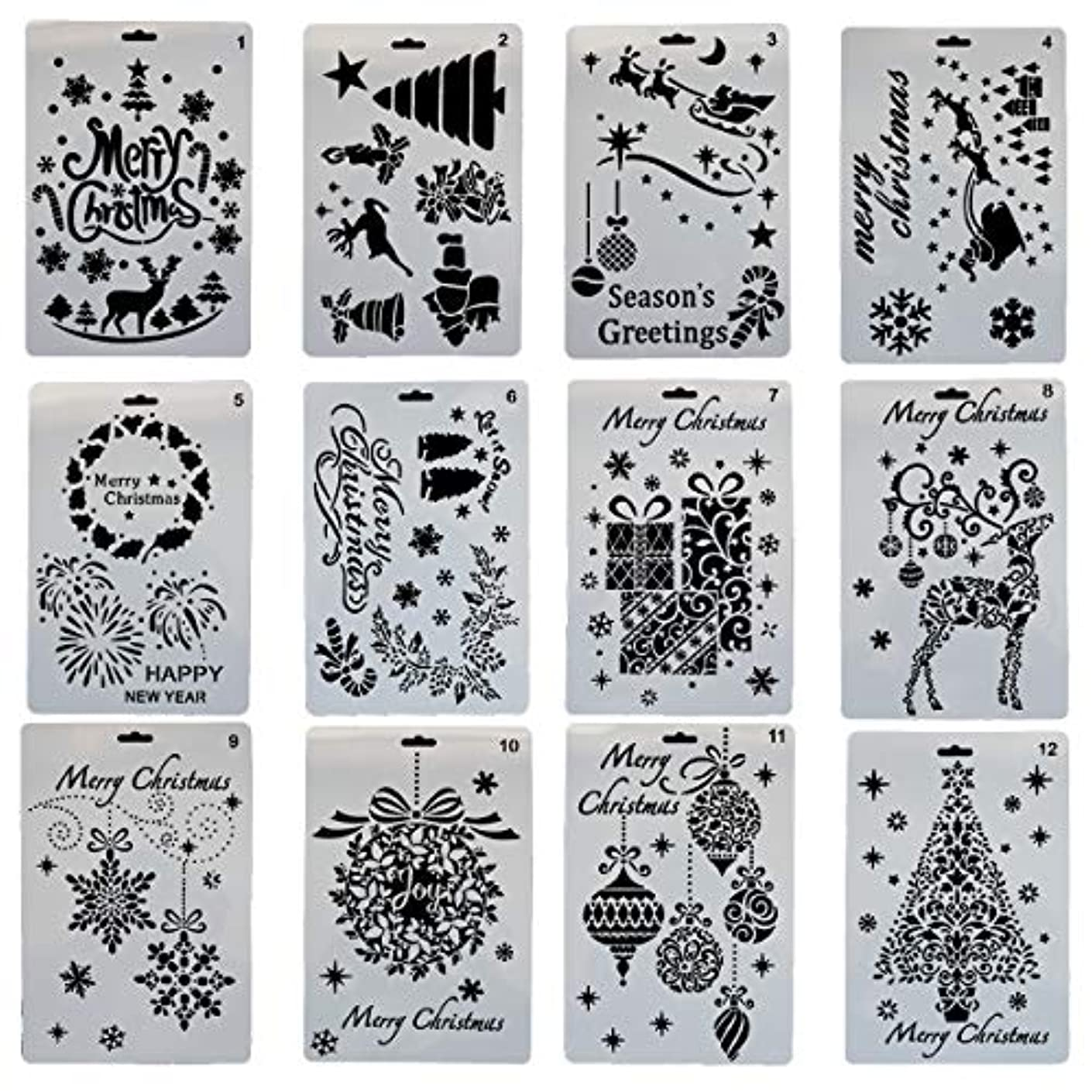 Christmas Painting Stencils, Misscrafts 12pcs Stencils Bullet Journal Plastic Stencil Set for Journaling Scrapbooking DIY Cards Making 7x10 inches