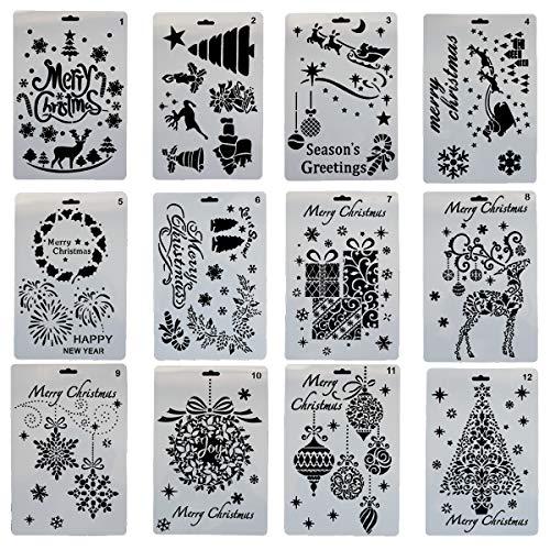 YXJD 12pcs Weihnachten Schablone DIY Vorlage 7x10 Zoll Multifunktional Malerei Schablonenset für Weihnachtsmalerei Tagebuch Scrapbooking Karten Handwerk