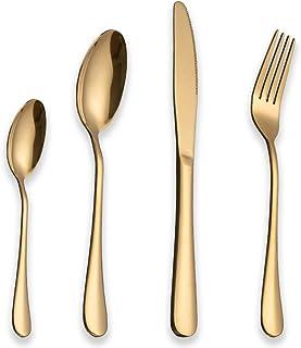 Berglander Stainless Steel Cutlery Set 24 Piece With Titanium Gold Plated, Golden Color Flatware Set, Silverware, Cutlery ...