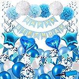 [Con bomba] 84 piezas FELIZ CUMPLEAÑOS Kit de decoración de fiesta Banner Confeti Globos de látex Papel de aluminio Pom Poms Borlas con globo de mano Bombas de aire Niño Hombre