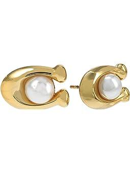 코치 귀걸이 COACH Pearl C Stud Earrings,White Pearl