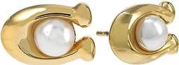Pearl C Stud Earrings