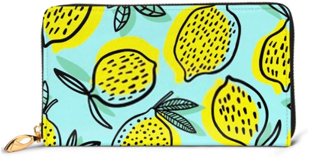 Fashion Handbag Zipper Wallet Lemon Seamless Pattern Vector Illustration Summer Phone Clutch Purse Evening Clutch Blocking Leather Wallet Multi Car