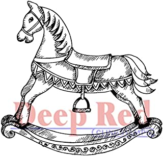 Deep Red Stamps Rocking Horse Rubber Stamp