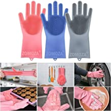 Luvina Magic Silicone Scrubbing Gloves, Scrub Cleaning Gloves with Scrubber for Dishwashing and Pet Grooming, Latex Free (Multi Color, 1 Pair)