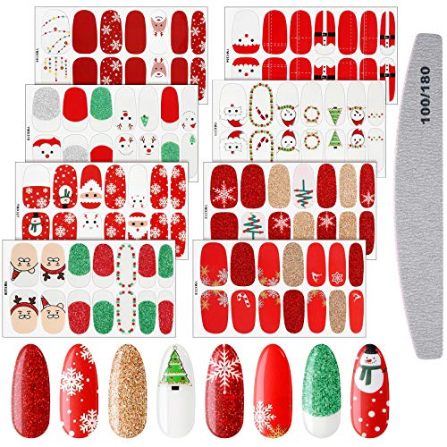 8 Sheets Christmas Nail Stickers Strip Nail Polish Stickers Full Nail Wrap Adhesive Nail Decals With Deer Snowman Xmas Tree Design and Nail File (Cute Style)