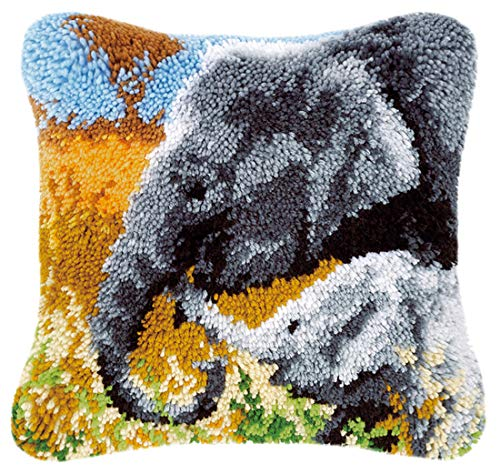 "Latch Hook Kit Cushion Cover Pillowcase Embroidery Kit for Adults and Beginners, Elephants, 16"" x 16""( BZ-238 )"