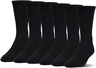Under Armour Boys Charged Cotton 2.0 Crew Socks (6 Pack) (Black (1298755-001) / Stealth Gray, Youth Medium)