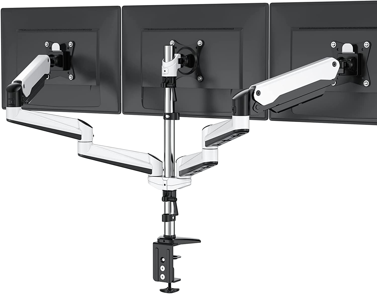 HUANUO Triple Monitor Stand - Full Motion Articulating Aluminum Gas Spring Monitor Mount Fit Three 17 to 32 inch LCD Computer Screens with Clamp, Grommet Kit