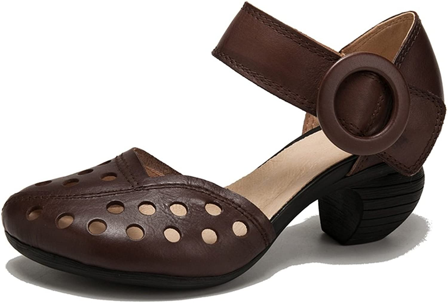 Women's shoes Leather Spring Summer Roman shoes Ladies Hollow-Out Sandals Heteredypic Heel for Brown, Coffee