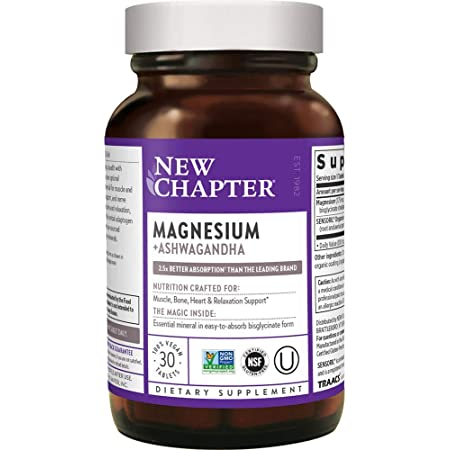Magnesium, New Chapter Magnesium + Ashwagandha Supplement, 2.5X Absorption, Muscle Recovery, Heart & Bone Health, Calm & Relaxation, Gluten Free, Non-GMO - 30 ct