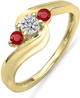 Dazzlingrock 系列 10K 金圆形红宝石和白色钻石女士漩涡订婚 3 石新娘戒指