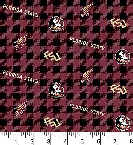 FSU Florida State Cotton Fabric Buffalo Plaid Design-Newest Pattern-Sold by The Yard-SYKEL