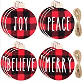 12 Pieces Christmas Wishes Tree Ornament Buffalo Plaid Printed Wood Hanging Christmas Ornament Tree Decorations Wooden Hanging Crafts for Christmas Tree, 4 Styles (Red and Black Plaid with White Word)