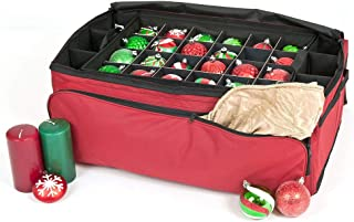 [Red Christmas Ornament Storage Box with Dividers] - (Holds 72 Ornaments up to 3 Inches in Diameter) | Acid-Free Removable Trays with Separators | Extra Front and Side Pockets for Additional Storage