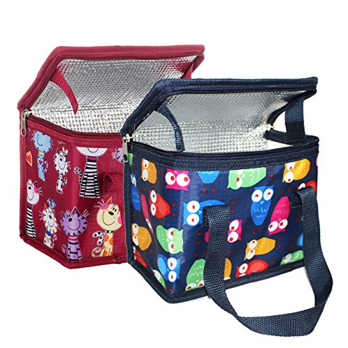 Teamook 2PCS lunch box bag Soft Cooler Bags (blu gufo + gatto rosso)