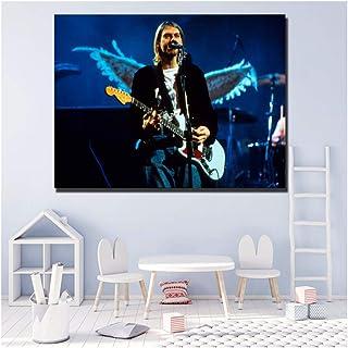 XuFan Fender Kurt Cobain Mustang Sonic Blue Posters Cuadros Decorativos de Arte de Pared para Sala de Estar Decoración para el hogar-20x28 Pulgadas Marco Interior de Madera 1 Piezas