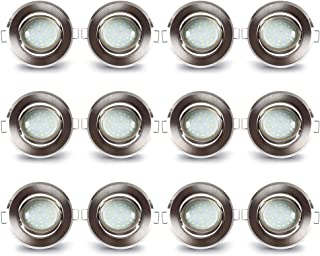 Lámpara LED empotrable de Lampaous, regulable, luz blanca cálida, juego de 12 unidades, de aluminio, con 5 W, 400 lm, módu...