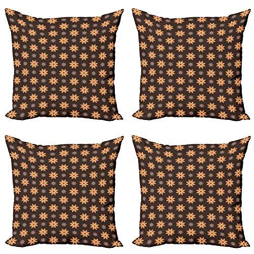 ABAKUHAUS marrón Set de 4 Fundas para Cojín, Flor Naranja Tiempo de Verano, Estampado Digital en Ambos Lados y Cremallera, 50 cm x 50 cm, Café Oscuro bermellón