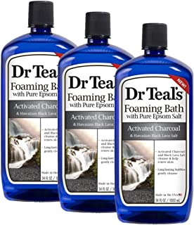 Dr Teal's Activated Charcoal & Lava Foaming Bath with Pure Epsom Salt, 34 oz (Pack of 3)