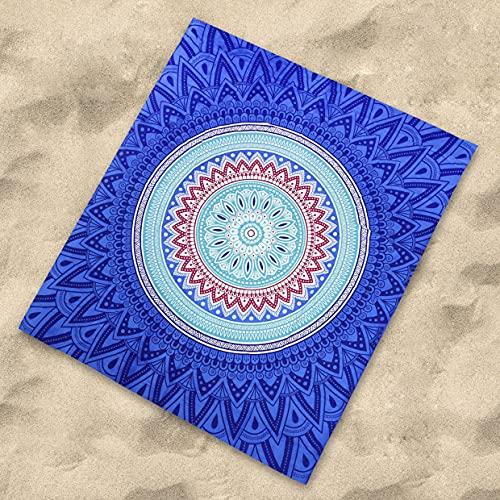 Sibiles Pareo Grande Playa para Suelo Algodón de 210x230 cm Mandala Oramis (Marino), poliéster