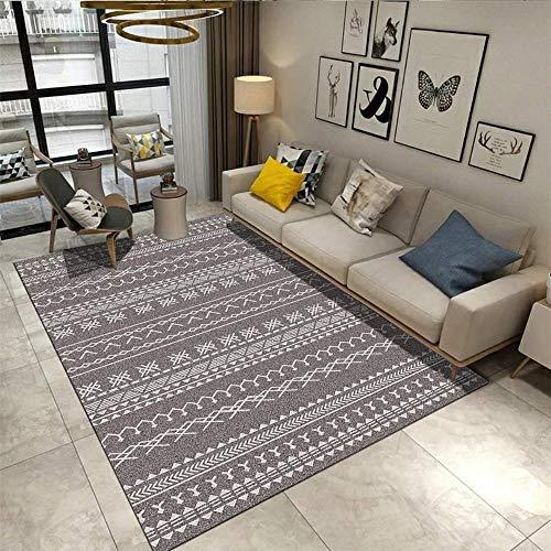 Kunsen Alfombra Antideslizante Decoración del hogar Interiores La Alfombra Alfombra Grande de la Sala de Estar Moderna de Estilo geométrico marroquí Gris y Blanco Acogedor Alfombra 160 * 230cm