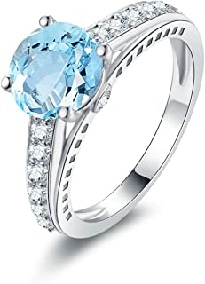 Womens Fashion Rings Sterling Silver Engagement Rings Blue Created-Topaz December Birthstone
