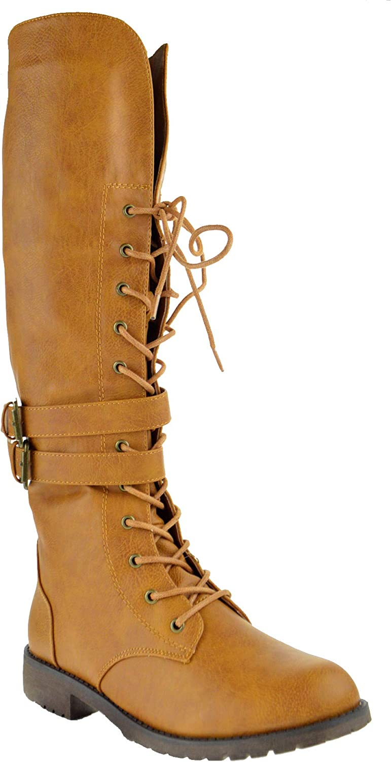 Nature Breeze Lug 15KH Womens Knee High Dual Buckle Military Lace Up Combat Boots