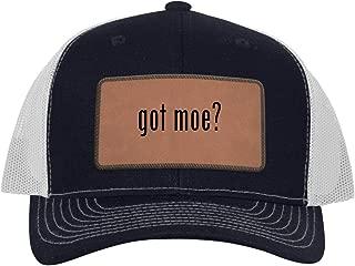 One Legging it Around got moe? - Leather Dark Brown Patch Engraved Trucker Hat